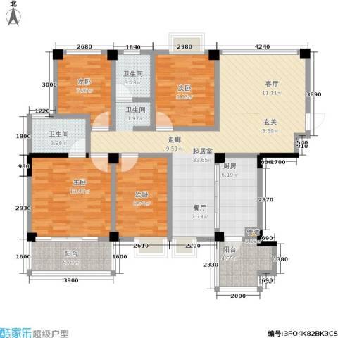 瑞都华庭4室0厅2卫1厨117.00㎡户型图