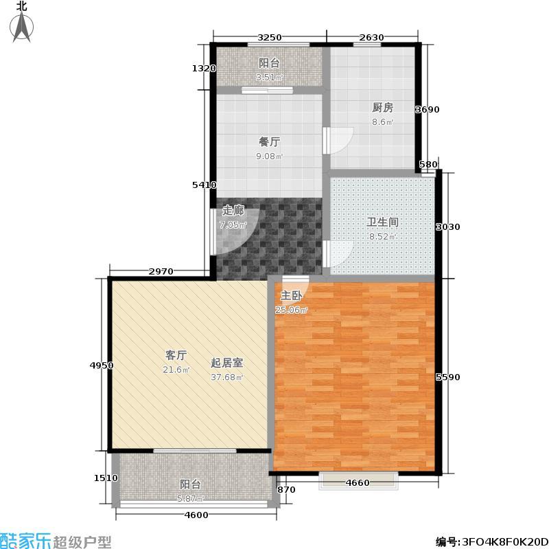 北京曜阳国际老年公寓98.00㎡A户型多层高档公寓一室两厅一卫户型