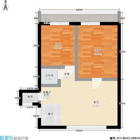 朝晖四区2室1厅1卫1厨58.00㎡户型图