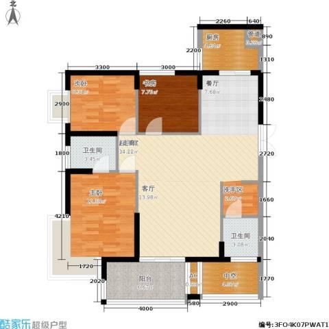 明发滨江新城3室0厅2卫1厨128.00㎡户型图
