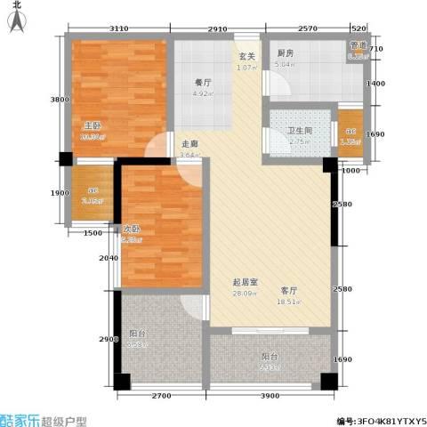 瑞都华庭2室0厅1卫1厨93.00㎡户型图