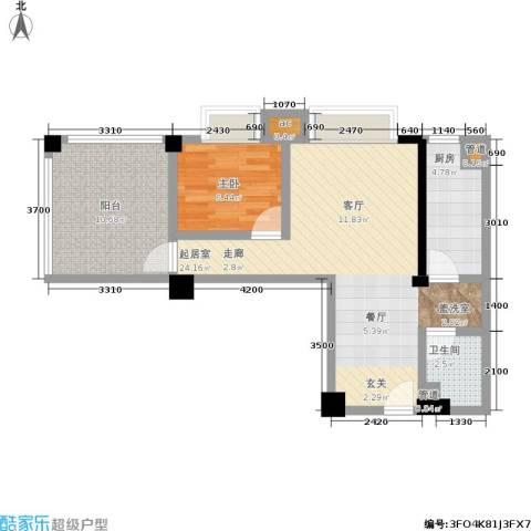瑞都华庭1室0厅1卫1厨66.00㎡户型图