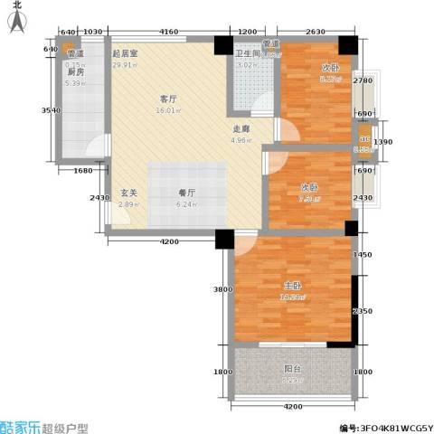 瑞都华庭3室0厅1卫1厨96.00㎡户型图