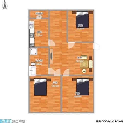 华丰居3室1厅1卫1厨119.00㎡户型图
