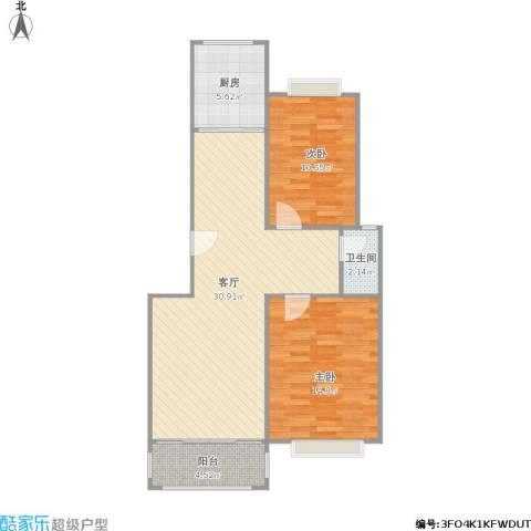 云锦美地2室1厅1卫1厨92.00㎡户型图