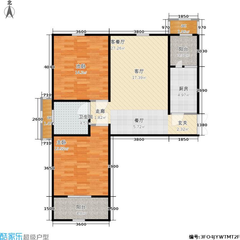 河泰山庄95.00㎡一期9-11#、15#16#20#楼标准层A1户型