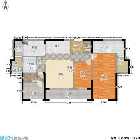 万科紫台2室1厅2卫1厨143.00㎡户型图