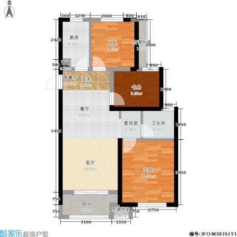 绿地香树花城3室1厅1卫1厨86.00㎡户型图