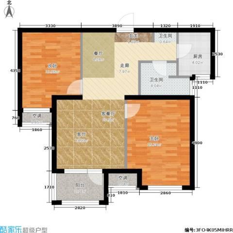 荣盛・白鹭岛2室1厅1卫1厨79.00㎡户型图