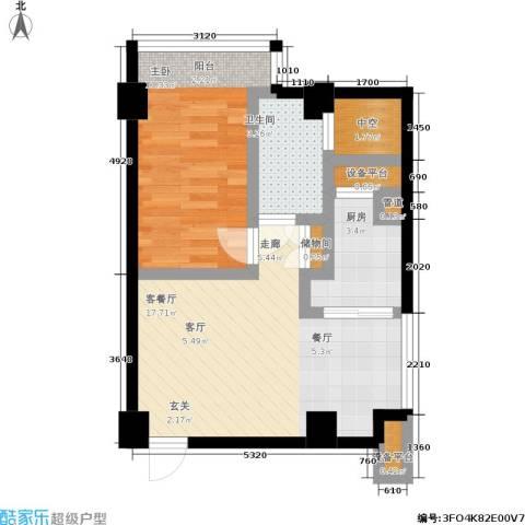 印象天心1室1厅1卫1厨61.00㎡户型图