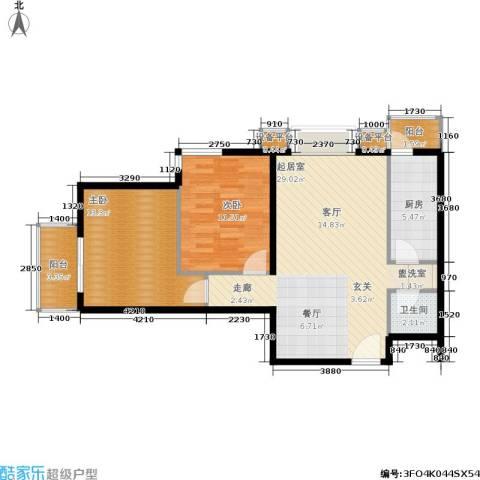 加州水郡西区2室0厅1卫1厨88.00㎡户型图