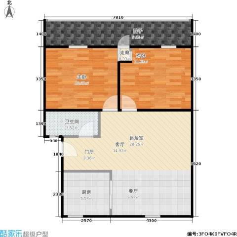 闸弄口新村2室0厅1卫1厨77.00㎡户型图