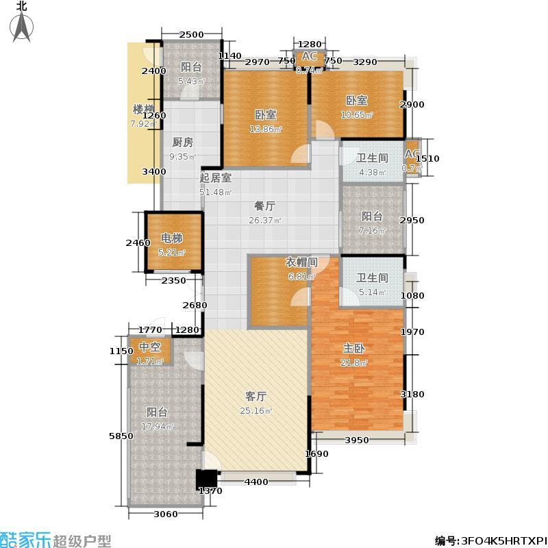 恒大名都187.34㎡42栋L16-4户型4号户 三室两厅两卫户型3室2厅2卫