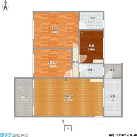 天悦城3室1厅2卫1厨109.00㎡户型图