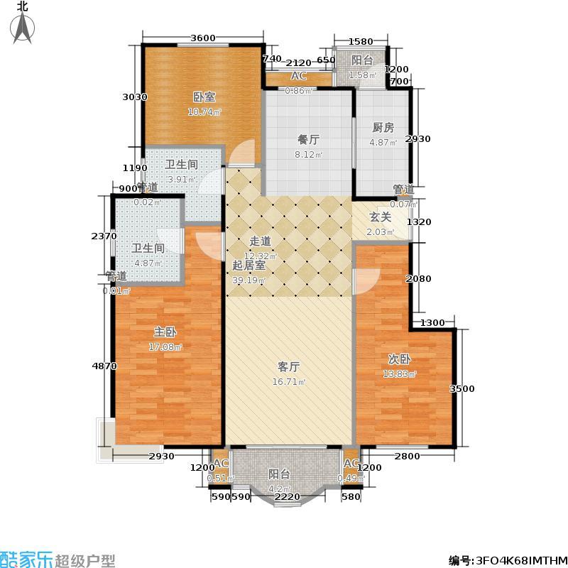 翠林漫步121.00㎡C1户型三室两厅两卫户型3室2厅2卫