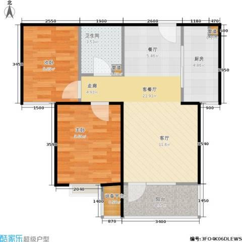 中铁·秦皇半岛2室1厅1卫1厨68.00㎡户型图