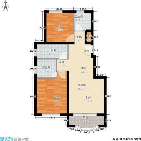 通泰·香滨城2室0厅3卫0厨88.00㎡户型图