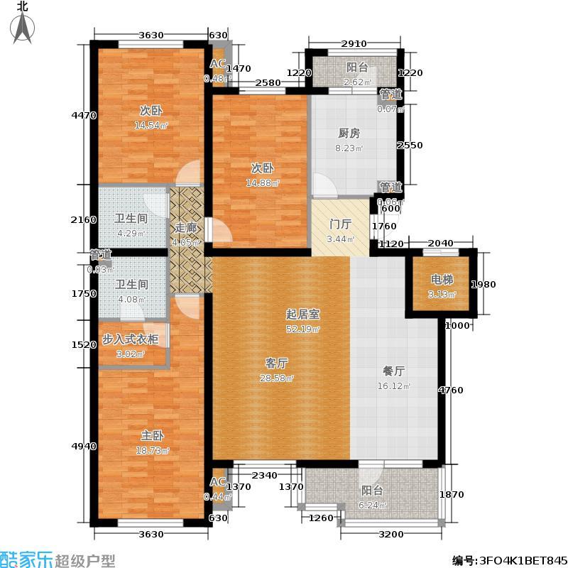 万科西山庭院155.00㎡19号楼B5户面积15500m户型