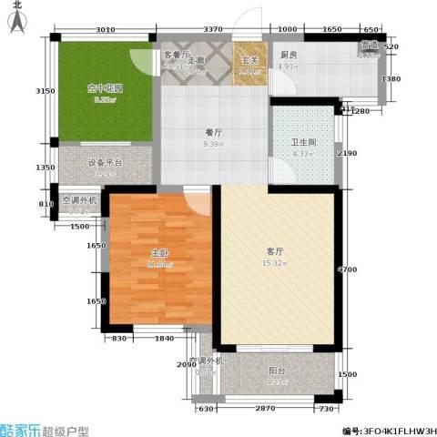 保利香槟国际1室1厅1卫1厨86.00㎡户型图