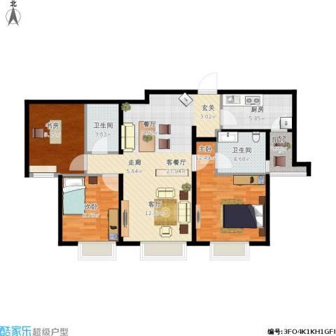 天津津南新城3室1厅2卫1厨105.00㎡户型图