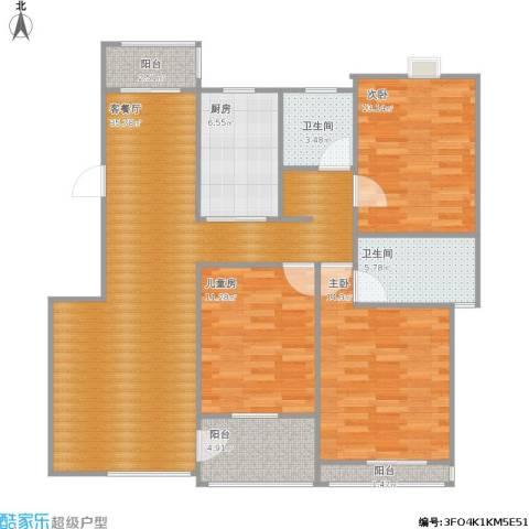 丽景雅苑3室1厅2卫1厨132.00㎡户型图