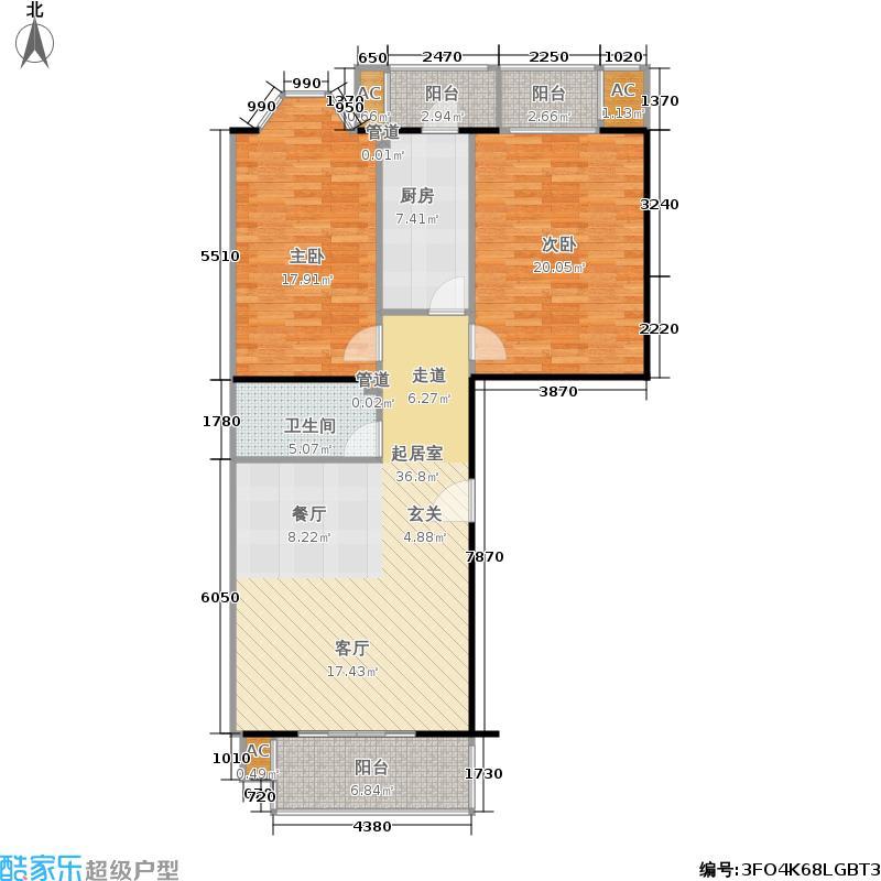 世界名园109.58㎡世界名园户型图DS二室二厅一卫(13/25张)户型2室2厅1卫