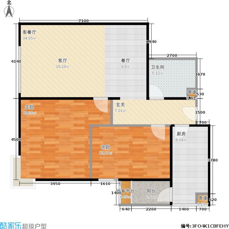国典华园104.32㎡1-3#楼F面积10432m户型