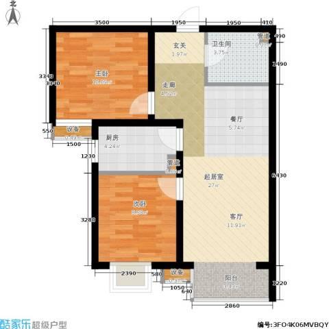 夏威夷・蓝湾2室0厅1卫1厨78.00㎡户型图