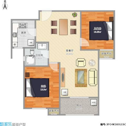 统建天成美雅2室1厅1卫1厨91.00㎡户型图