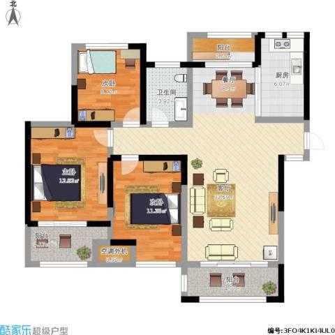 蚌埠绿地中央广场3室1厅1卫1厨130.00㎡户型图