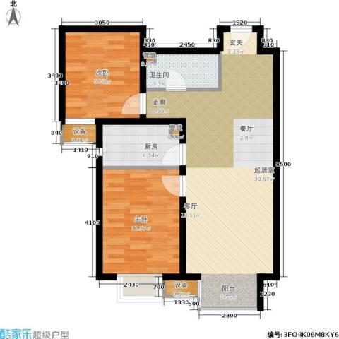 夏威夷・蓝湾2室0厅1卫1厨86.00㎡户型图