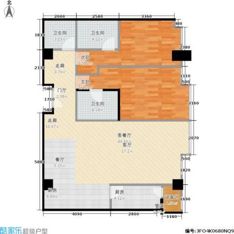 国瑞紫金阁2室1厅3卫1厨147.00㎡户型图