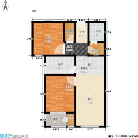 北京自在城2室1厅1卫1厨84.00㎡户型图
