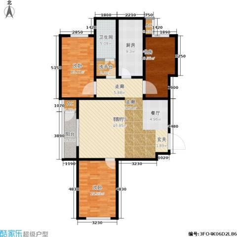 北京自在城3室1厅1卫1厨112.00㎡户型图
