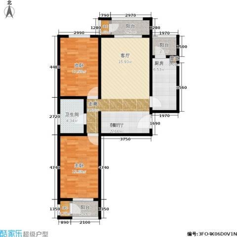 北京自在城2室1厅1卫1厨82.00㎡户型图