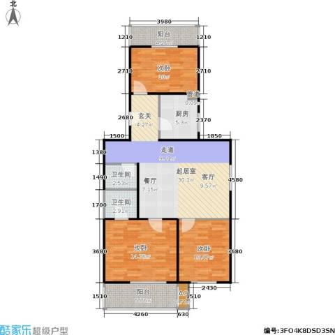 沁馥家园3室0厅2卫1厨93.00㎡户型图