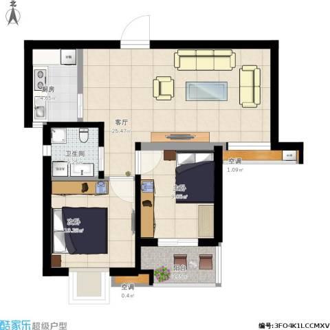 缤纷南郡2室1厅1卫1厨85.00㎡户型图