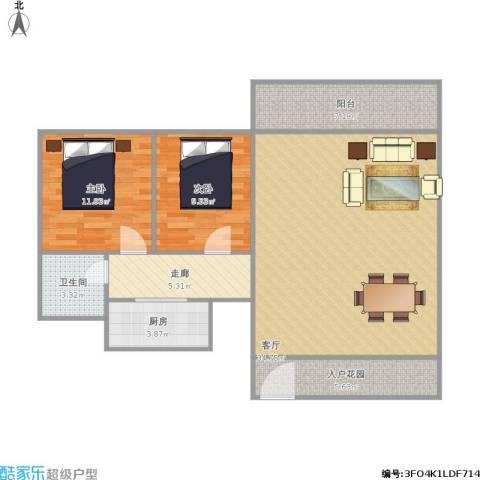 凯茵新城叠翠园2室1厅1卫1厨109.00㎡户型图