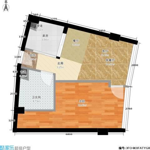 同方国际1室1厅1卫1厨50.00㎡户型图
