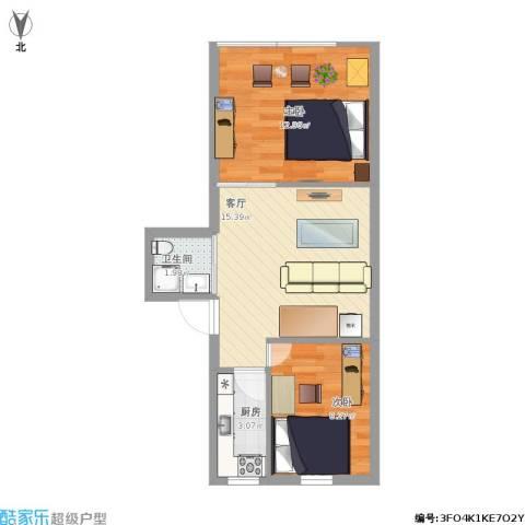 万寿路1号院2室1厅1卫1厨66.00㎡户型图