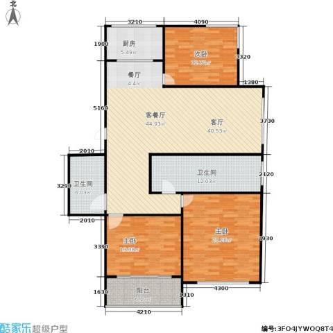三里新城3室1厅2卫1厨129.00㎡户型图