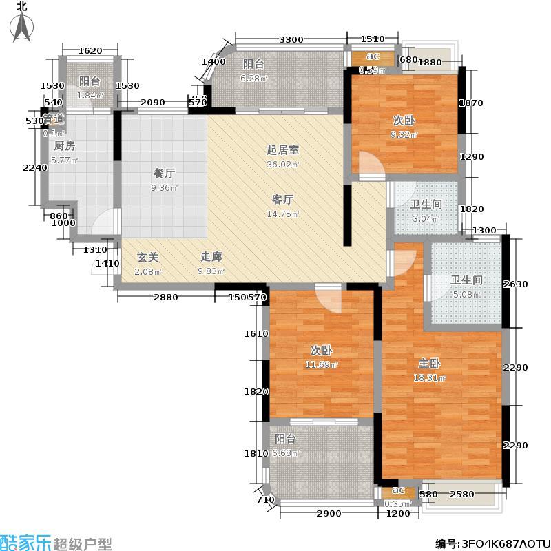 湘江雅颂居136.61㎡D9户型 三房两厅两卫户型3室2厅2卫