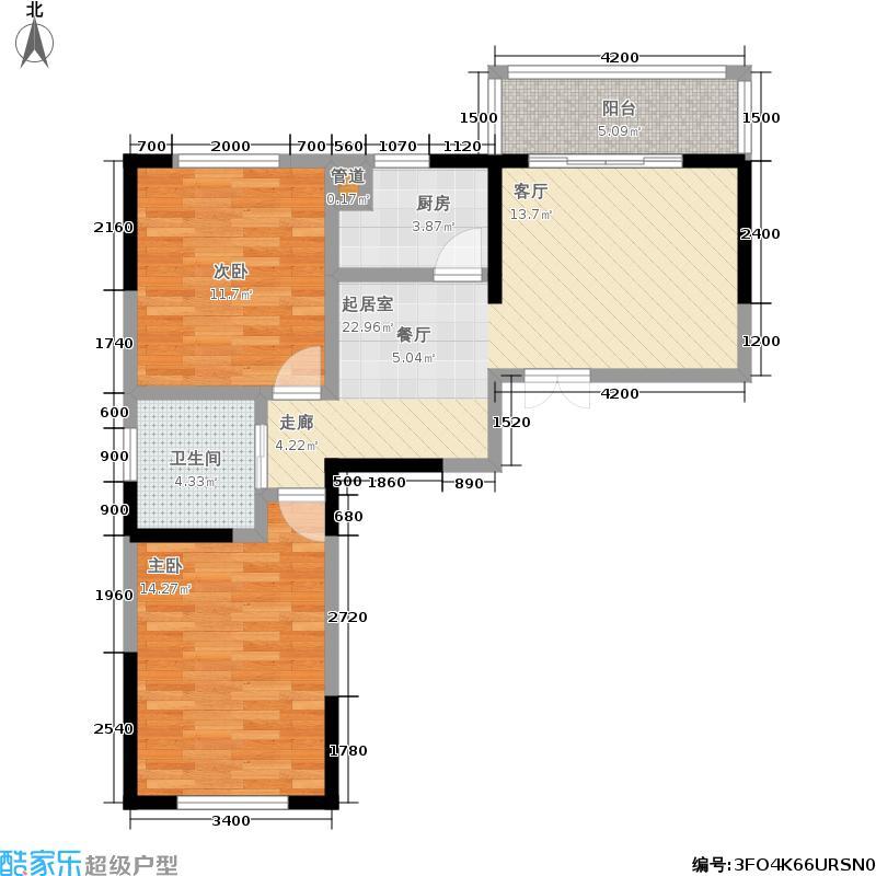 克拉美丽山庄84.39㎡H1户型 两房两厅一卫户型2室2厅1卫