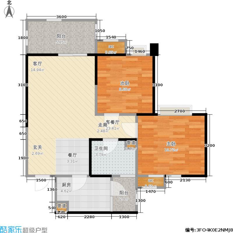 昌建星悦城71.83㎡一期11栋标准层D3户型