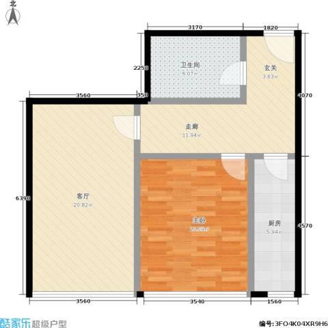 首开智慧社1室1厅1卫1厨68.00㎡户型图
