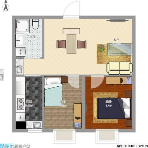 天宇・金地富山2室1厅1卫1厨65.00㎡户型图