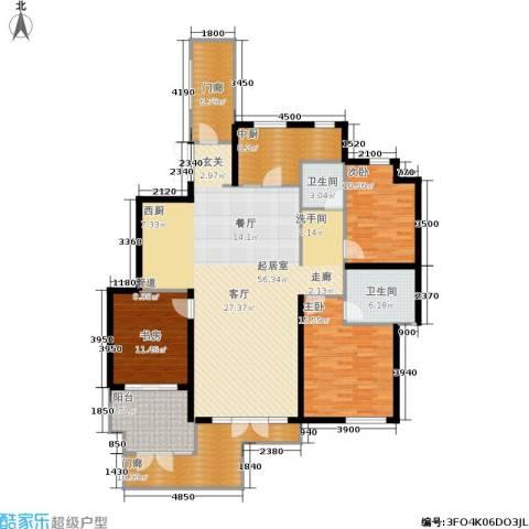 蓝湖郡3室0厅2卫0厨155.00㎡户型图