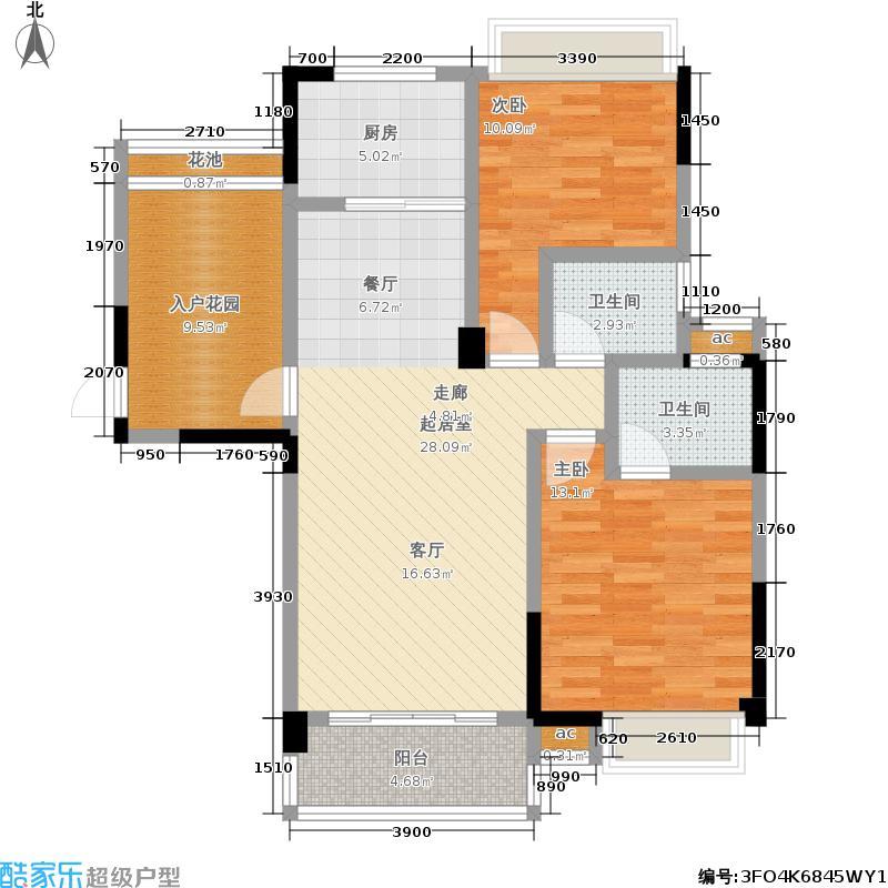 长城水郡102.40㎡户型-J两室两厅两卫户型