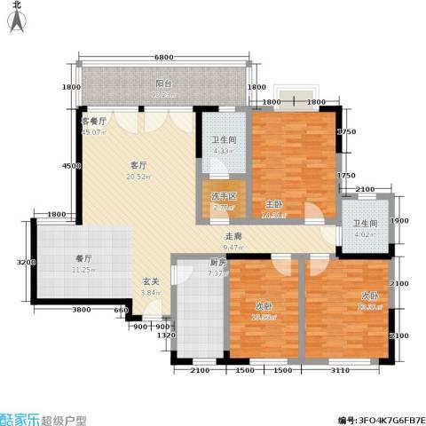 岳屏明珠苑3室1厅2卫1厨158.00㎡户型图