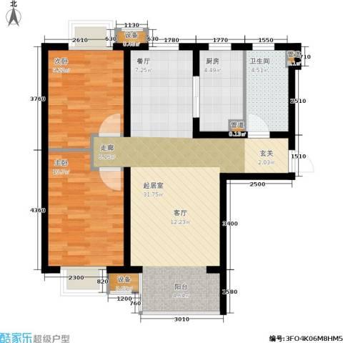 夏威夷・蓝湾2室0厅1卫1厨88.00㎡户型图